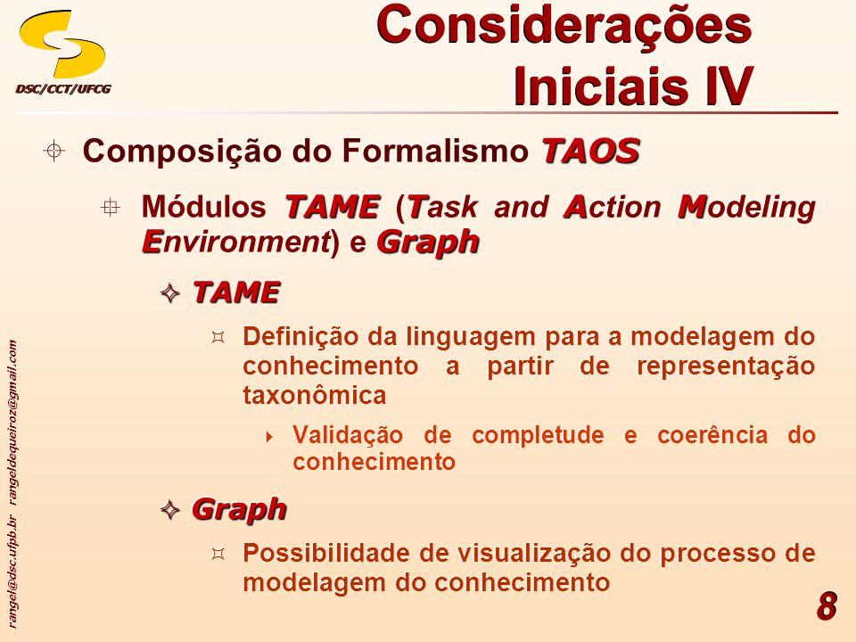 Considerações Iniciais IV