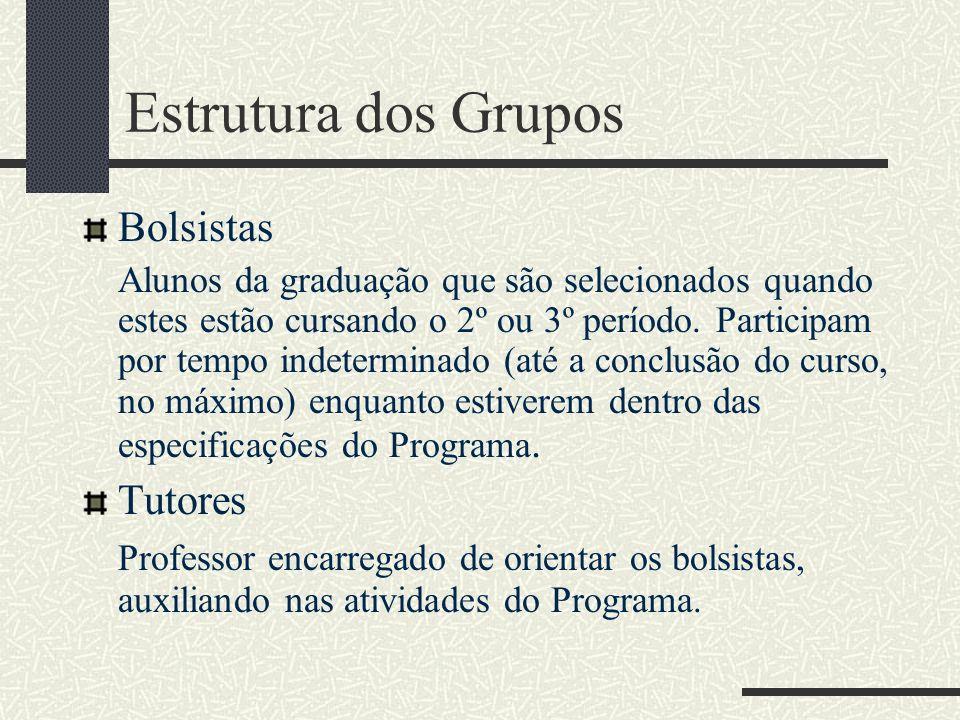 Estrutura dos Grupos Bolsistas Tutores