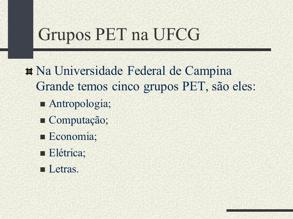 Grupos PET na UFCG Na Universidade Federal de Campina Grande temos cinco grupos PET, são eles: Antropologia;