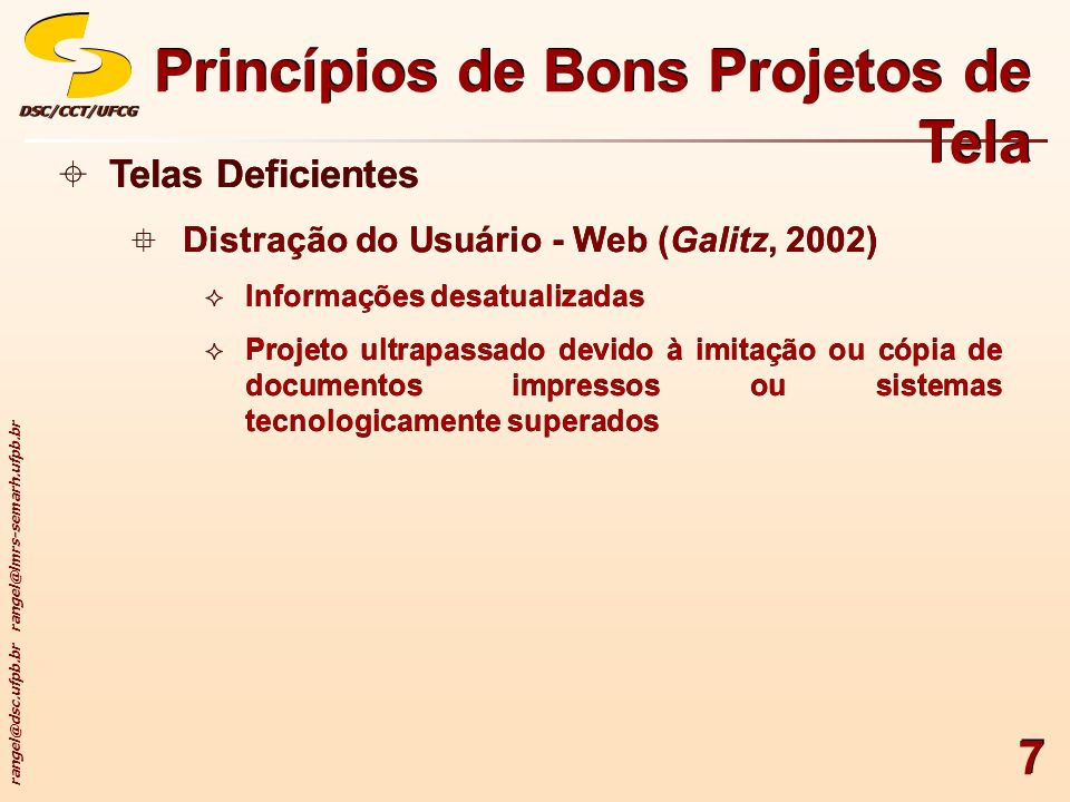 Princípios de Bons Projetos de Tela