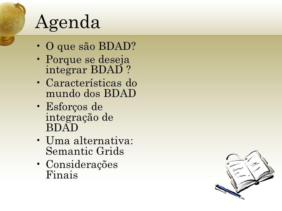 Agenda O que são BDAD Porque se deseja integrar BDAD