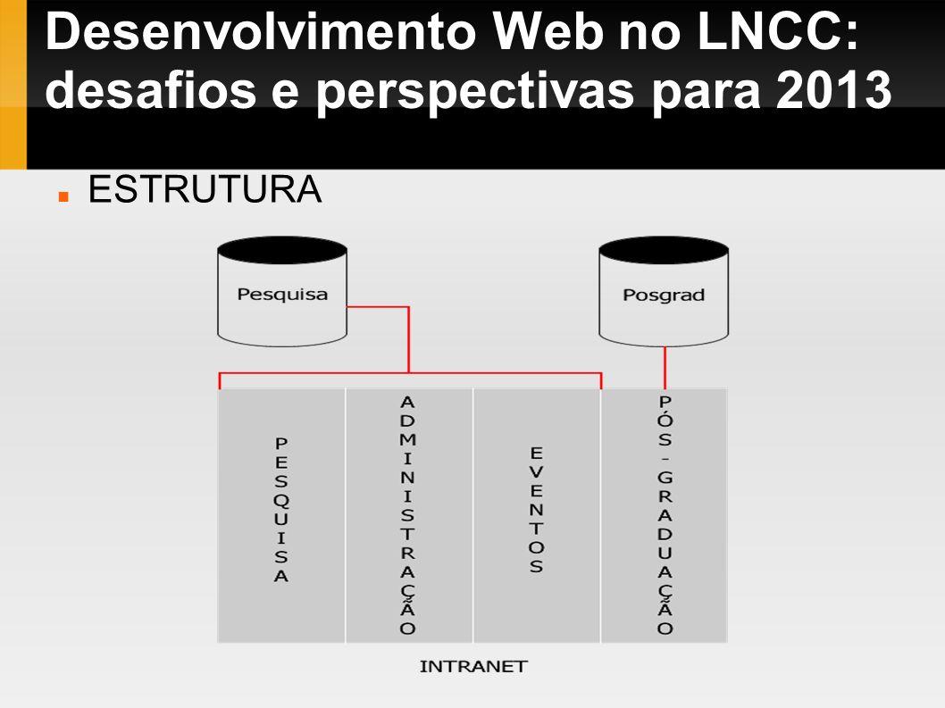 Desenvolvimento Web no LNCC: desafios e perspectivas para 2013