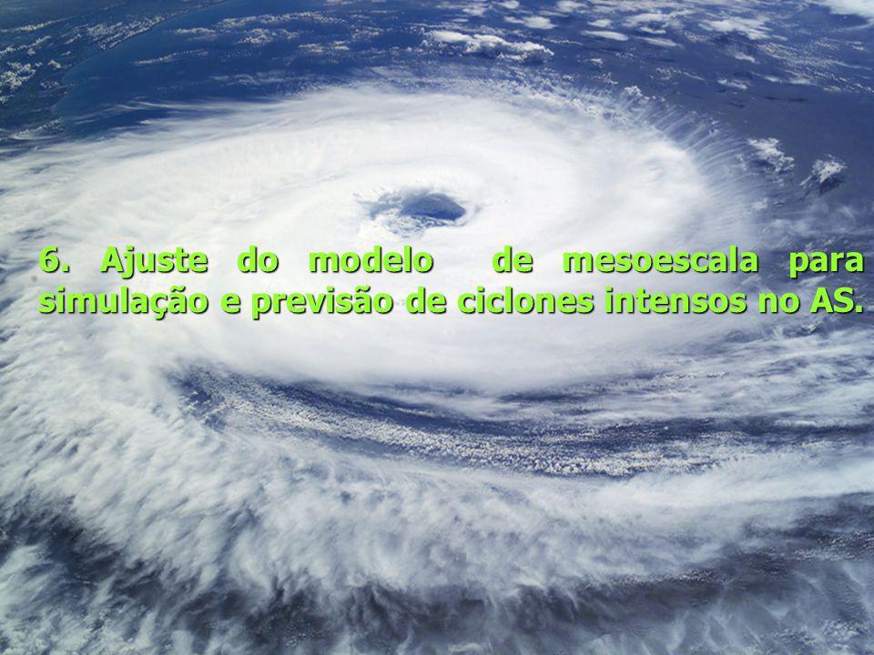 6. Ajuste do modelo de mesoescala para simulação e previsão de ciclones intensos no AS.