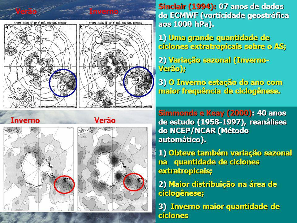 Sinclair (1994): 07 anos de dados do ECMWF (vorticidade geostrófica aos 1000 hPa).
