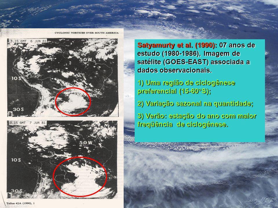 Satyamurty et al. (1990): 07 anos de estudo (1980-1986), Imagem de satélite (GOES-EAST) associada a dados observacionais.