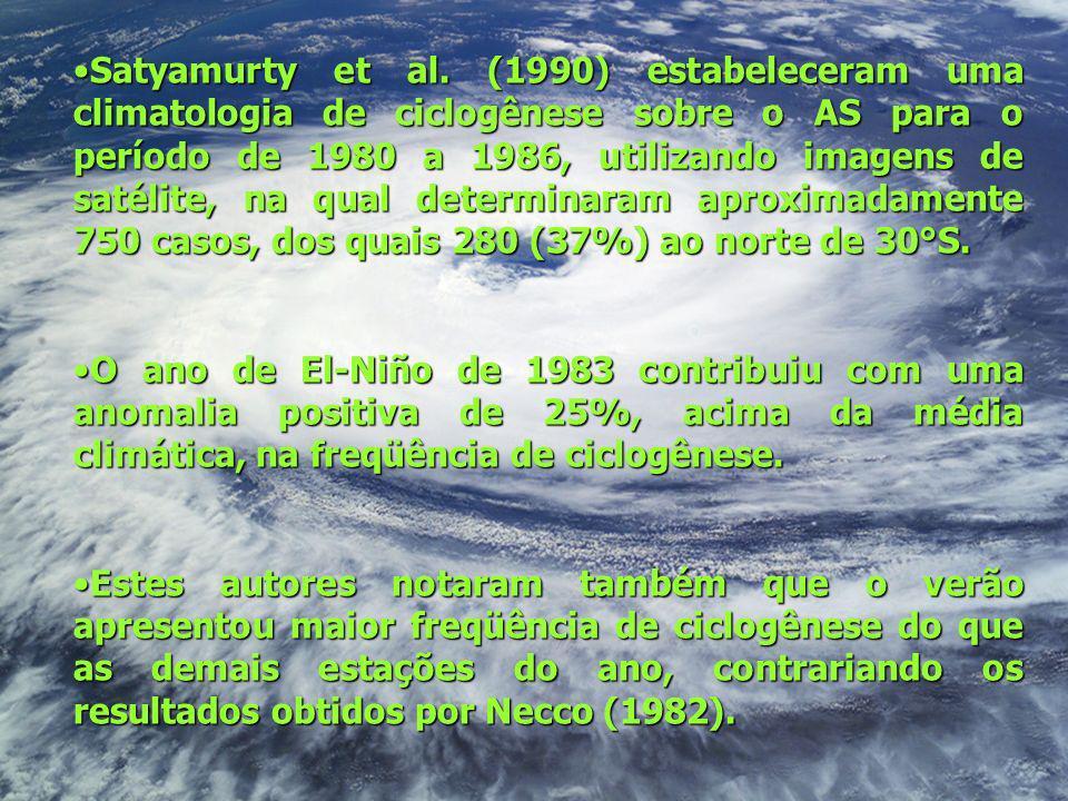 Satyamurty et al. (1990) estabeleceram uma climatologia de ciclogênese sobre o AS para o período de 1980 a 1986, utilizando imagens de satélite, na qual determinaram aproximadamente 750 casos, dos quais 280 (37%) ao norte de 30°S.
