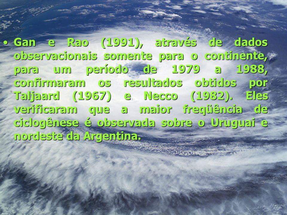 Gan e Rao (1991), através de dados observacionais somente para o continente, para um período de 1979 a 1988, confirmaram os resultados obtidos por Taljaard (1967) e Necco (1982).