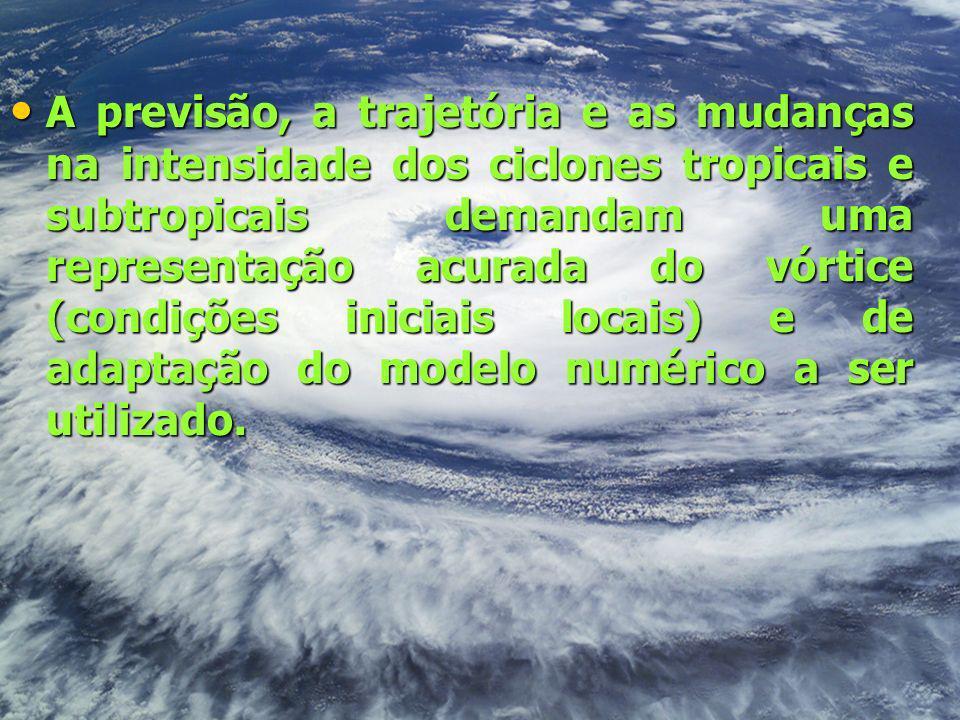 A previsão, a trajetória e as mudanças na intensidade dos ciclones tropicais e subtropicais demandam uma representação acurada do vórtice (condições iniciais locais) e de adaptação do modelo numérico a ser utilizado.
