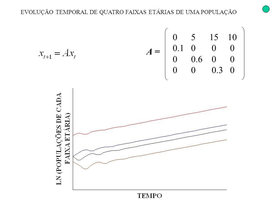EVOLUÇÃO TEMPORAL DE QUATRO FAIXAS ETÁRIAS DE UMA POPULAÇÃO