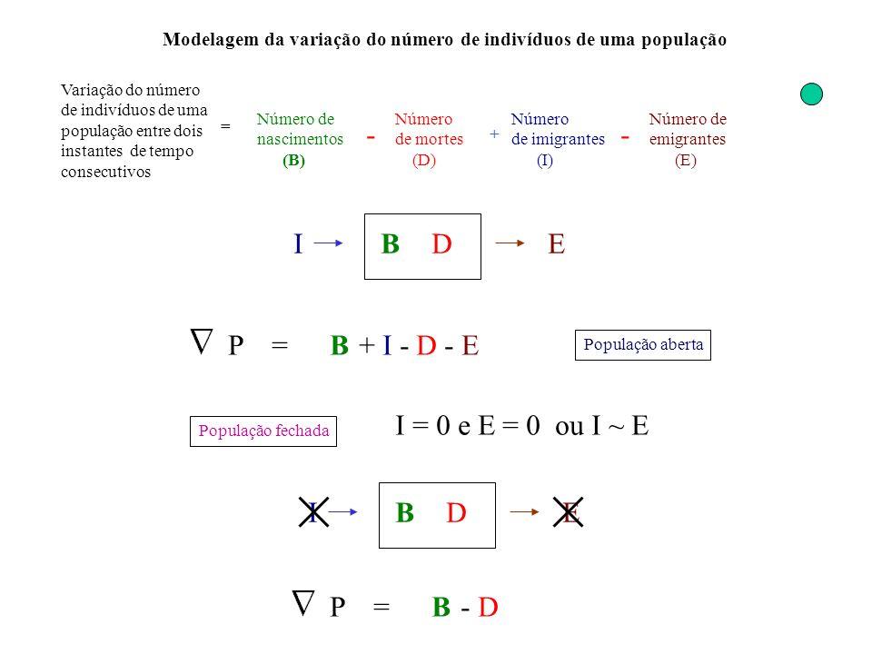 - - B D I E P = B + I - D - E I = 0 e E = 0 ou I ~ E B D I E P = B - D