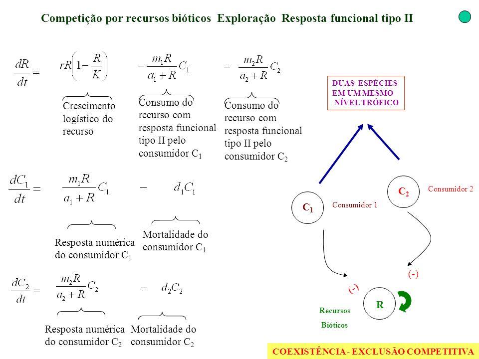 Competição por recursos bióticos Exploração Resposta funcional tipo II