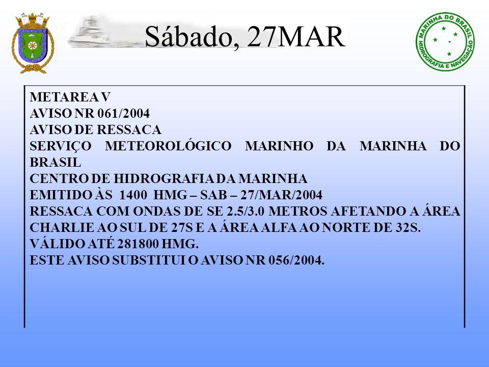 Sábado, 27MAR METAREA V AVISO NR 061/2004 AVISO DE RESSACA