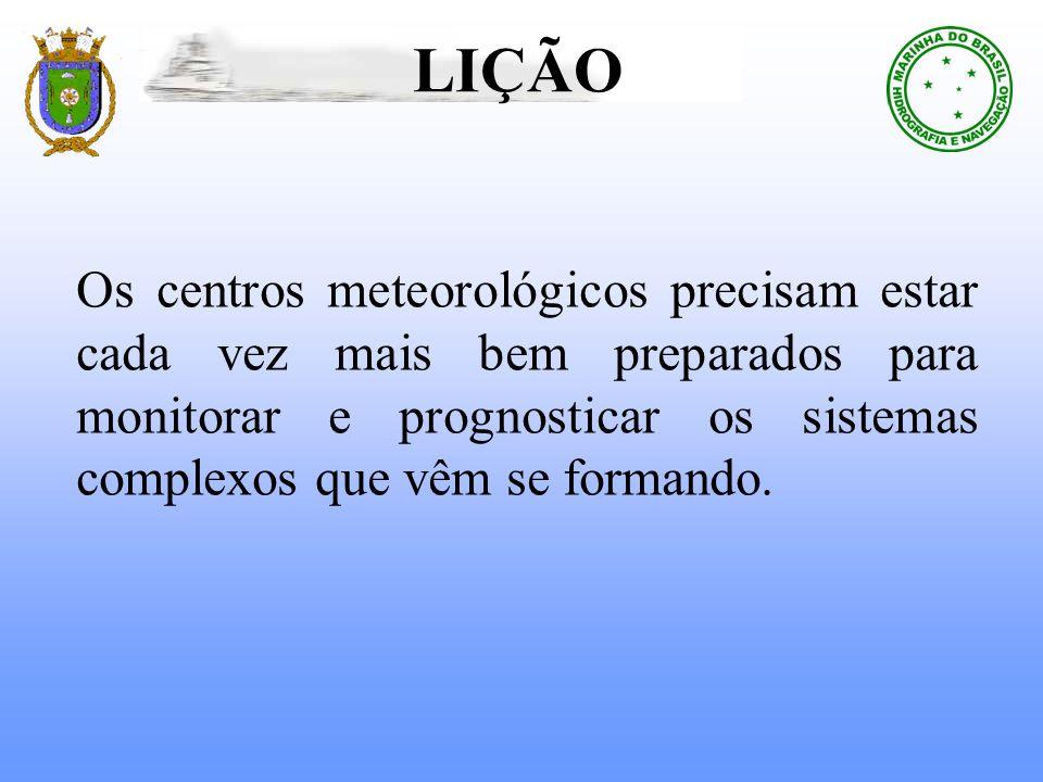 LIÇÃOOs centros meteorológicos precisam estar cada vez mais bem preparados para monitorar e prognosticar os sistemas complexos que vêm se formando.