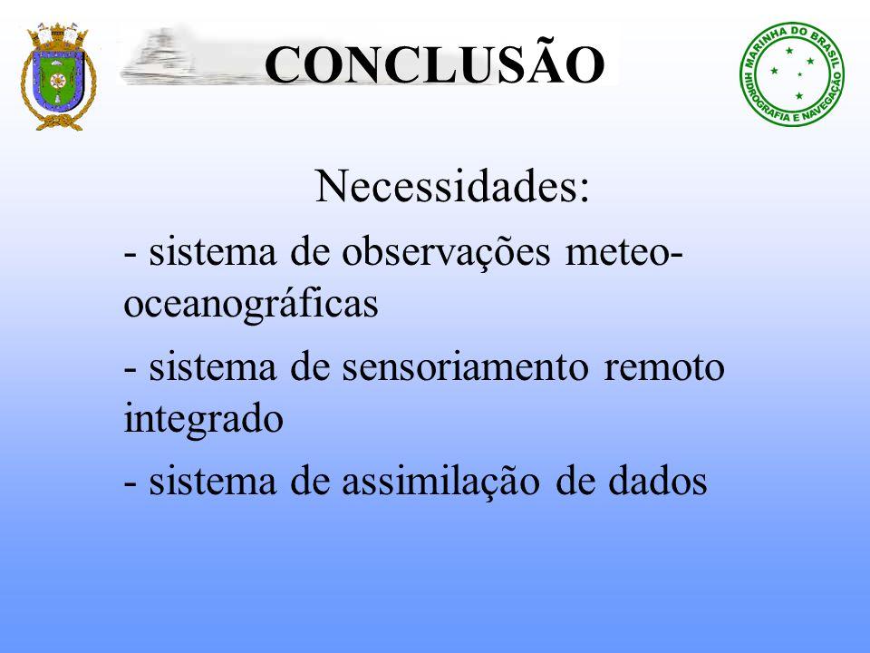 CONCLUSÃONecessidades: - sistema de observações meteo-oceanográficas - sistema de sensoriamento remoto integrado - sistema de assimilação de dados