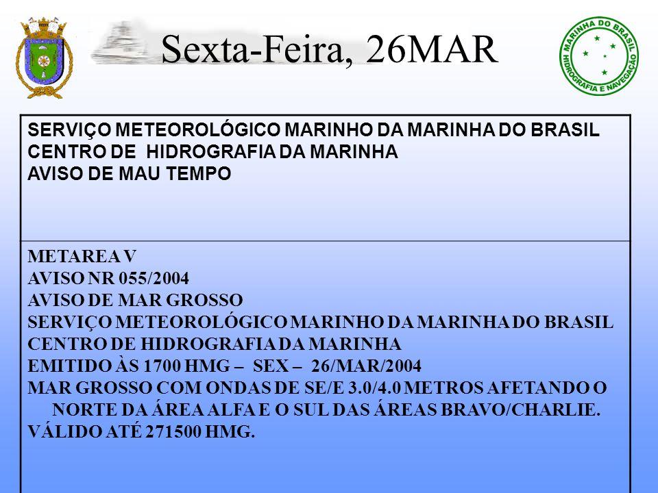 Sexta-Feira, 26MAR SERVIÇO METEOROLÓGICO MARINHO DA MARINHA DO BRASIL