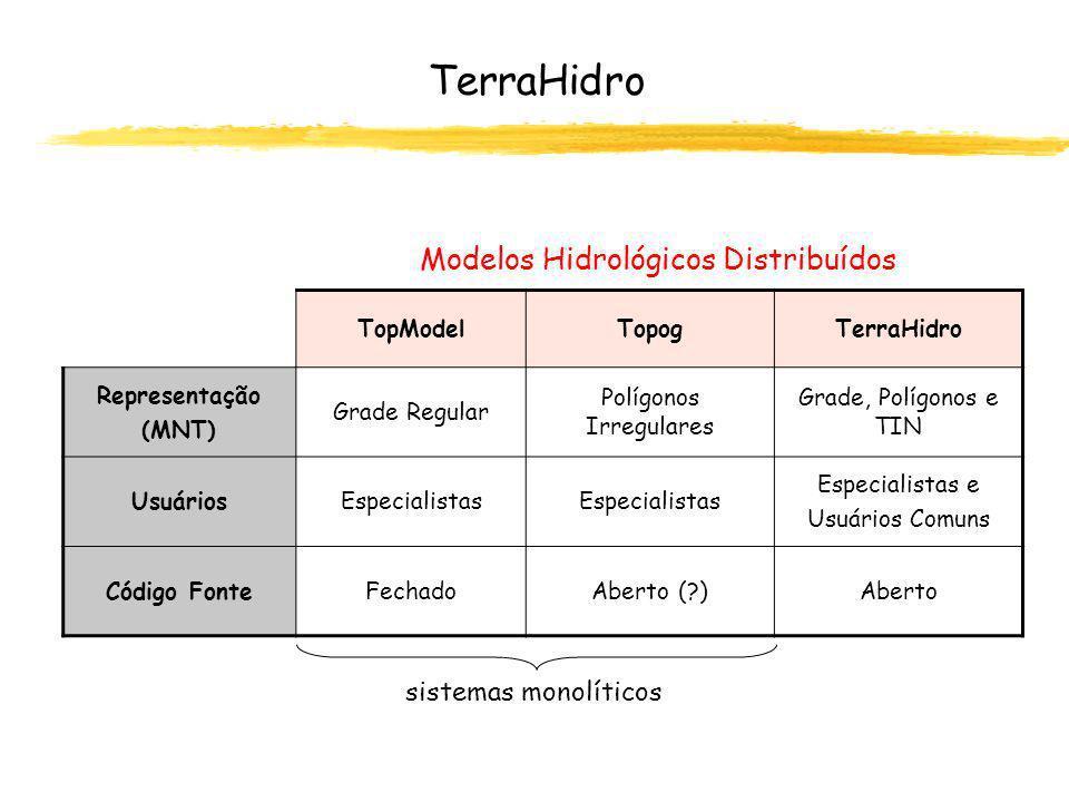 TerraHidro Modelos Hidrológicos Distribuídos sistemas monolíticos