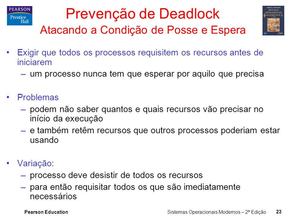 Prevenção de Deadlock Atacando a Condição de Posse e Espera