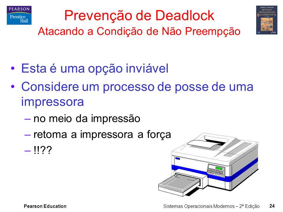 Prevenção de Deadlock Atacando a Condição de Não Preempção