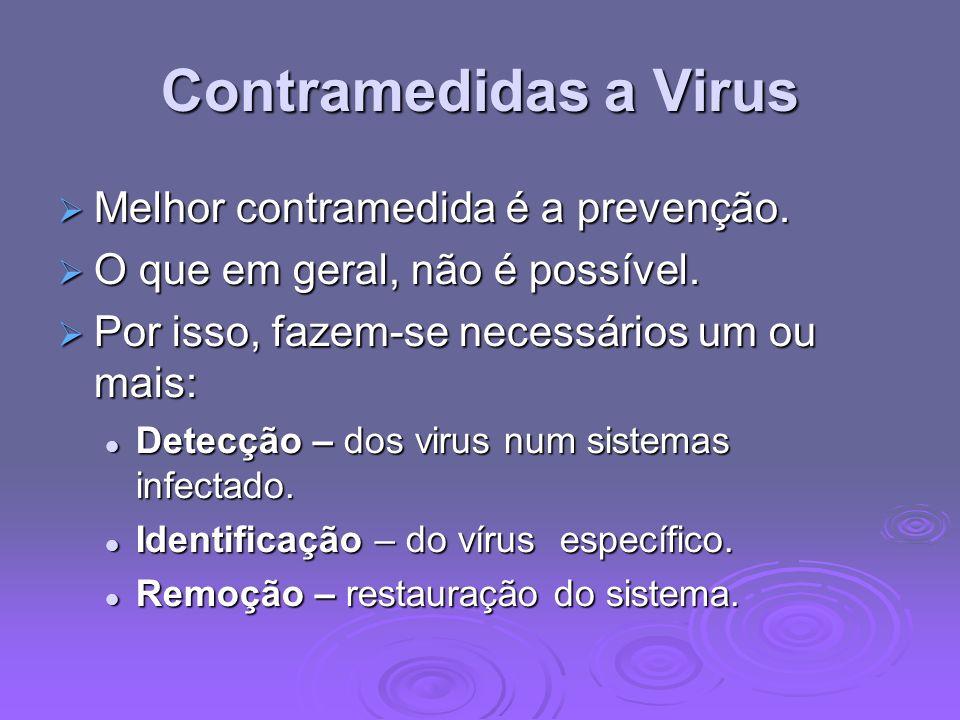 Contramedidas a Virus Melhor contramedida é a prevenção.