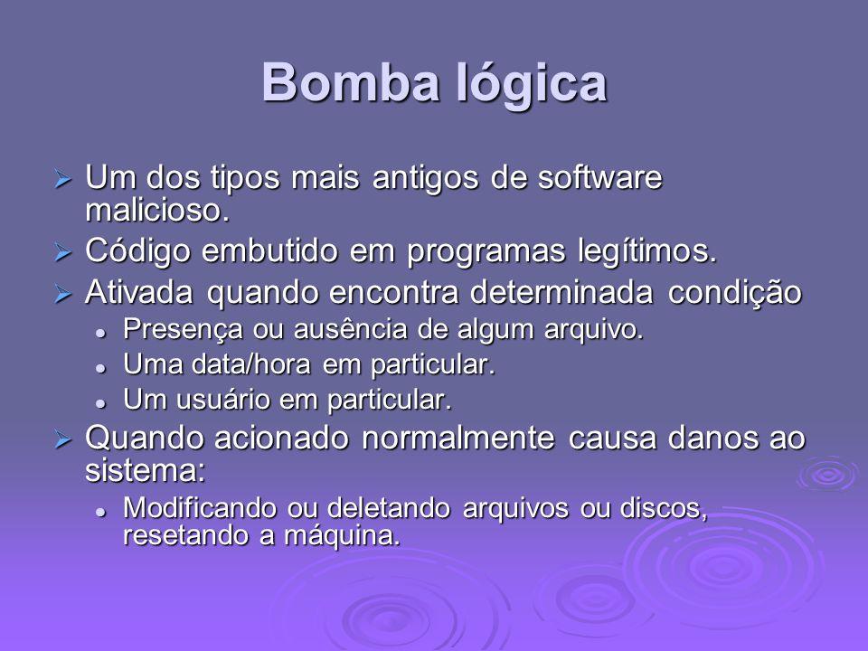 Bomba lógica Um dos tipos mais antigos de software malicioso.