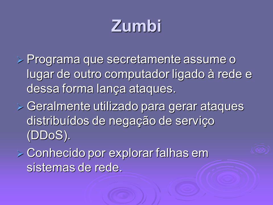 Zumbi Programa que secretamente assume o lugar de outro computador ligado à rede e dessa forma lança ataques.
