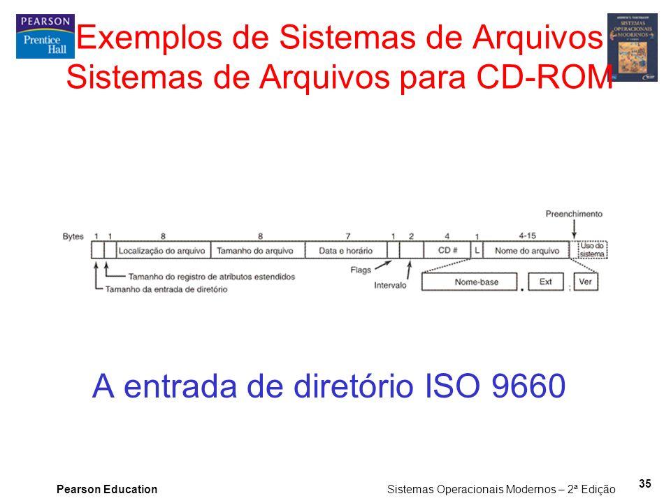 Exemplos de Sistemas de Arquivos Sistemas de Arquivos para CD-ROM