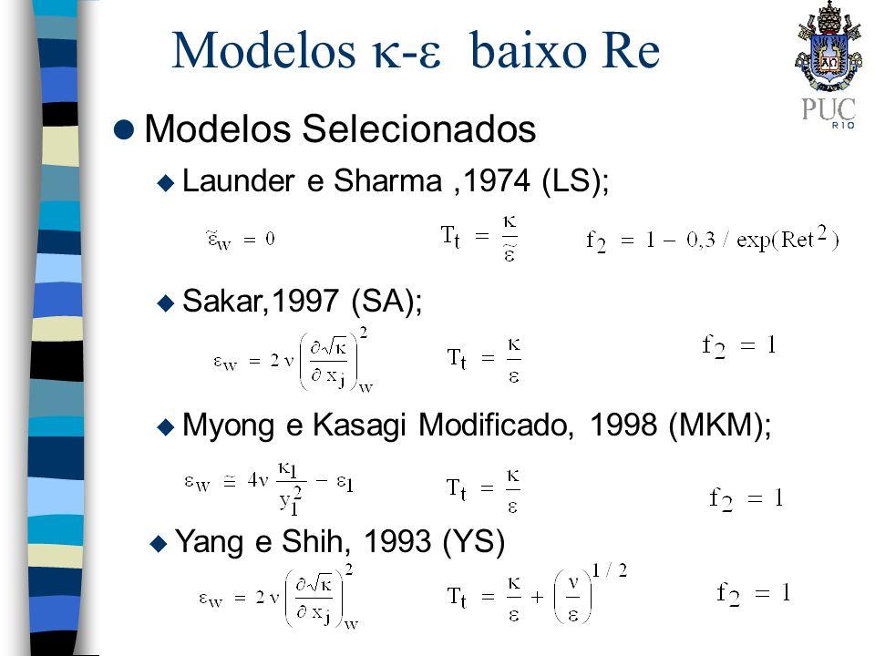 Modelos - baixo Re Modelos Selecionados Launder e Sharma ,1974 (LS);