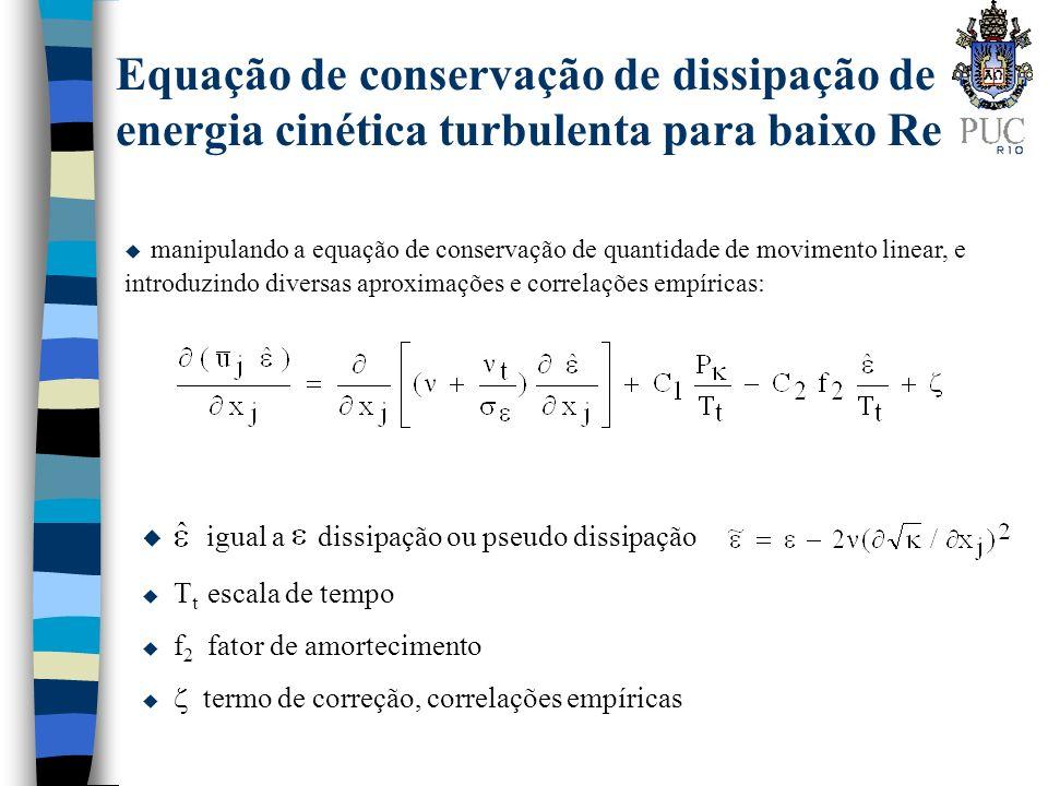 Equação de conservação de dissipação de energia cinética turbulenta para baixo Re