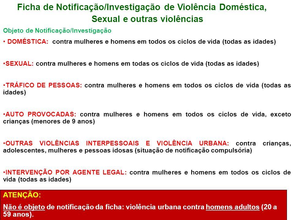 Ficha de Notificação/Investigação de Violência Doméstica, Sexual e outras violências