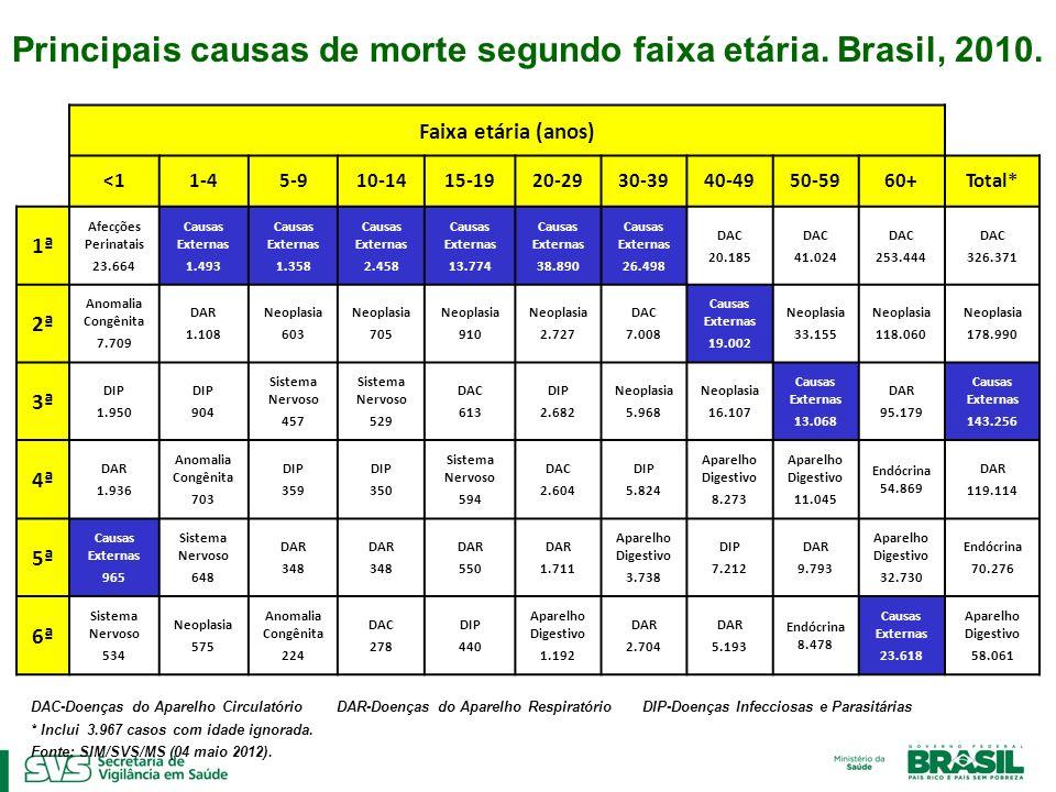 Principais causas de morte segundo faixa etária. Brasil, 2010.