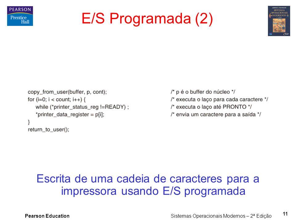 E/S Programada (2) Escrita de uma cadeia de caracteres para a impressora usando E/S programada