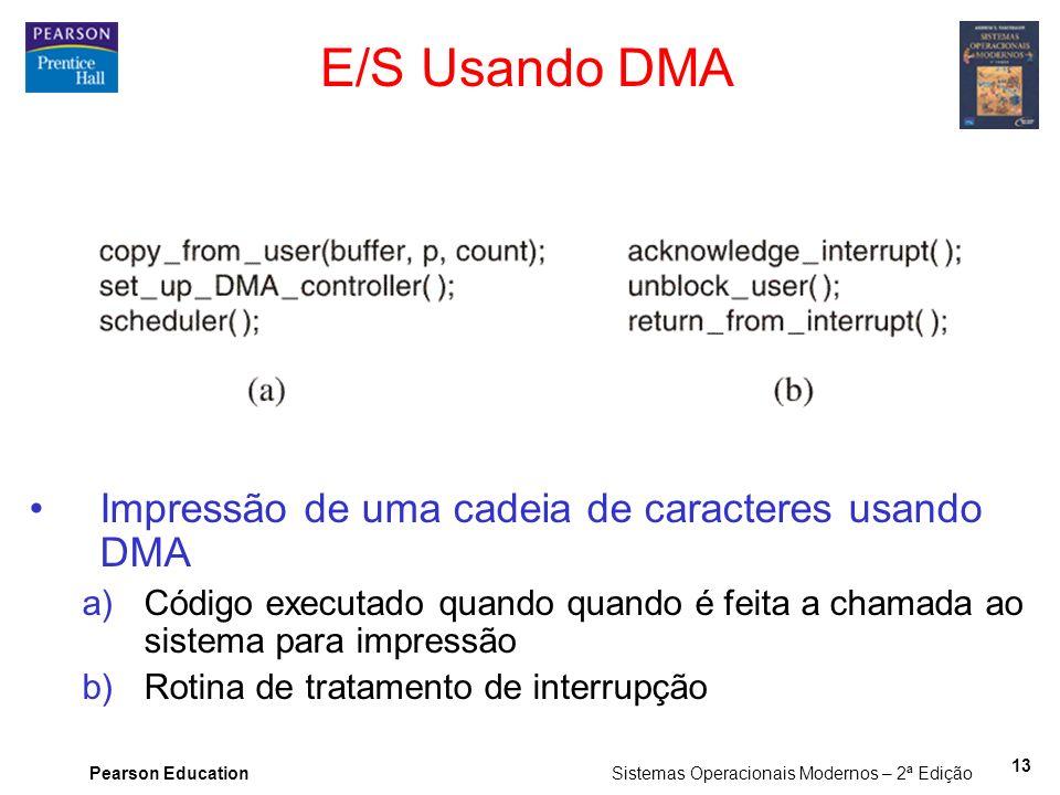 E/S Usando DMA Impressão de uma cadeia de caracteres usando DMA
