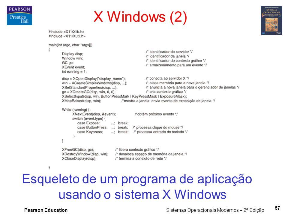 Esqueleto de um programa de aplicação usando o sistema X Windows