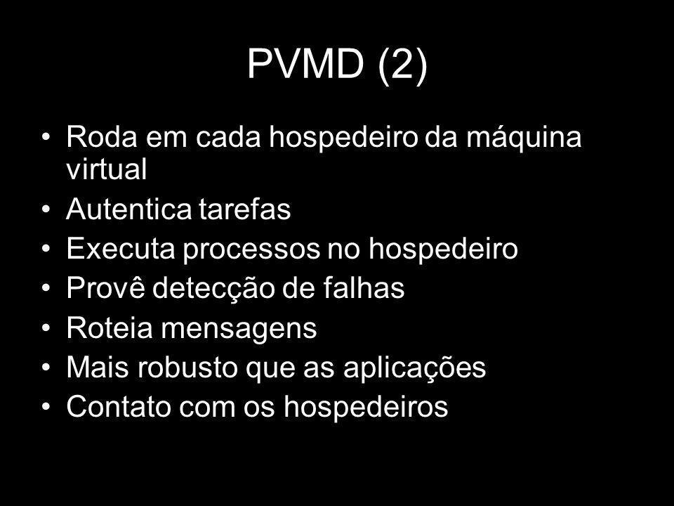 PVMD (2) Roda em cada hospedeiro da máquina virtual Autentica tarefas