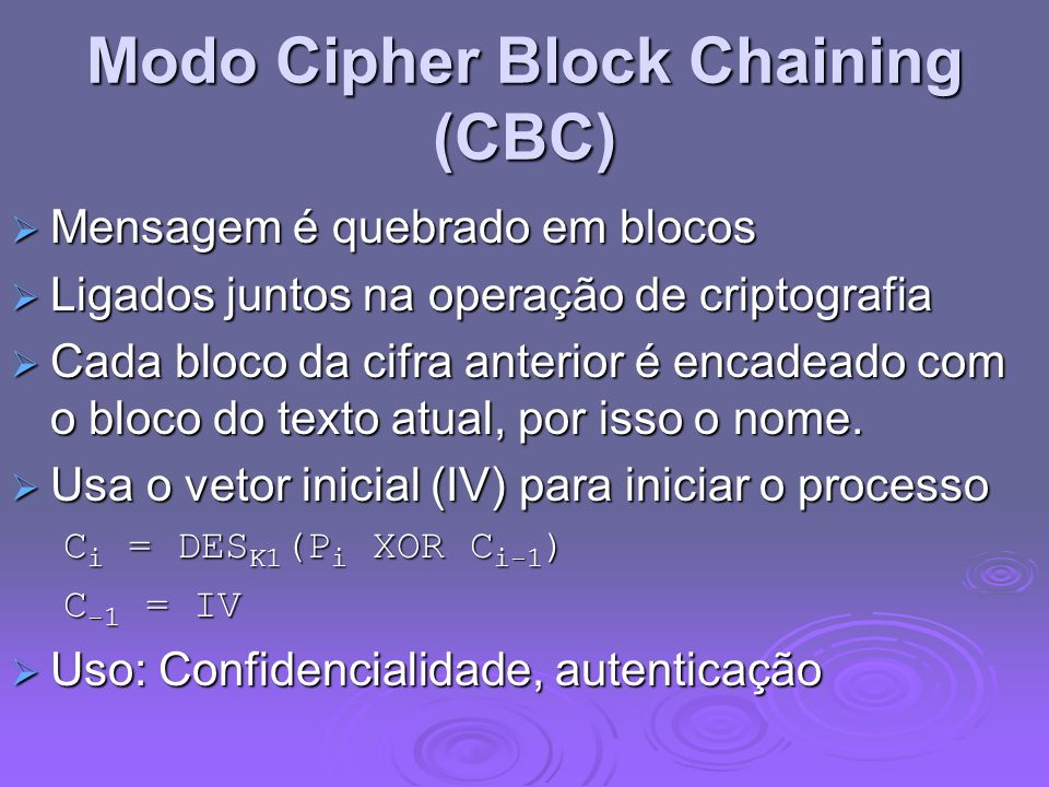 Modo Cipher Block Chaining (CBC)