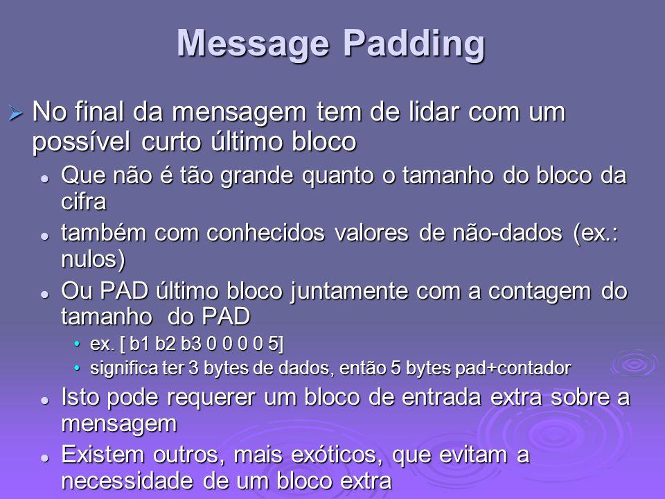 Message Padding No final da mensagem tem de lidar com um possível curto último bloco. Que não é tão grande quanto o tamanho do bloco da cifra.