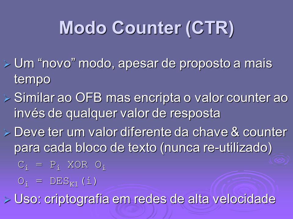 Modo Counter (CTR) Um novo modo, apesar de proposto a mais tempo