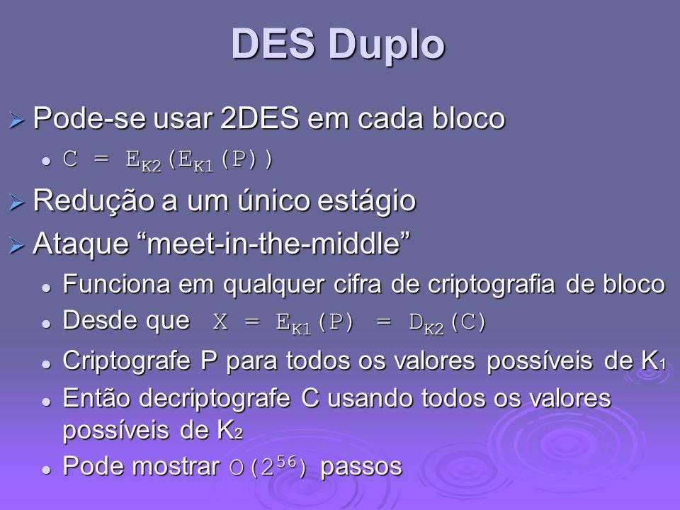 DES Duplo Pode-se usar 2DES em cada bloco Redução a um único estágio