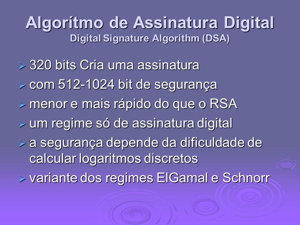 Algorítmo de Assinatura Digital Digital Signature Algorithm (DSA)