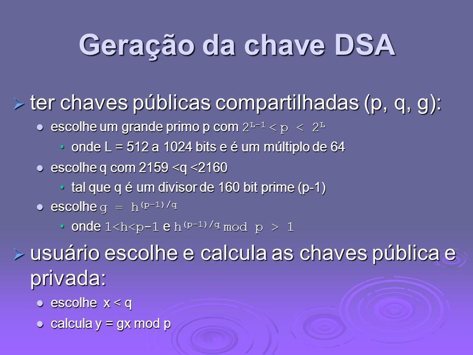 Geração da chave DSA ter chaves públicas compartilhadas (p, q, g):
