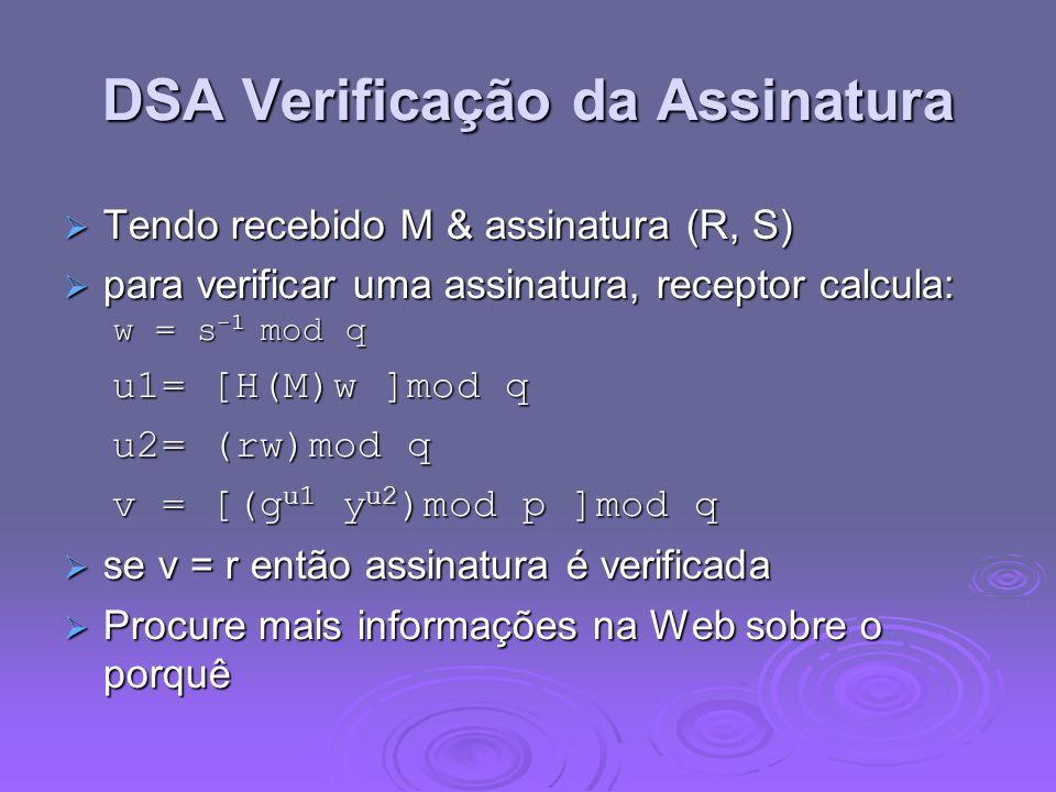 DSA Verificação da Assinatura