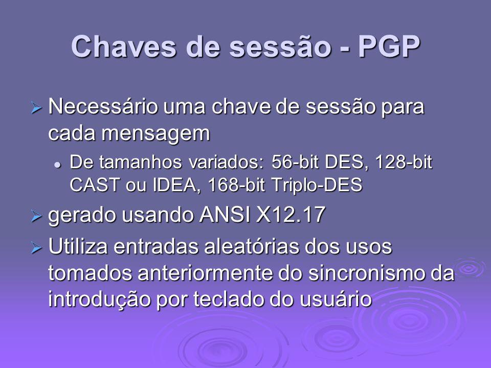 Chaves de sessão - PGP Necessário uma chave de sessão para cada mensagem.