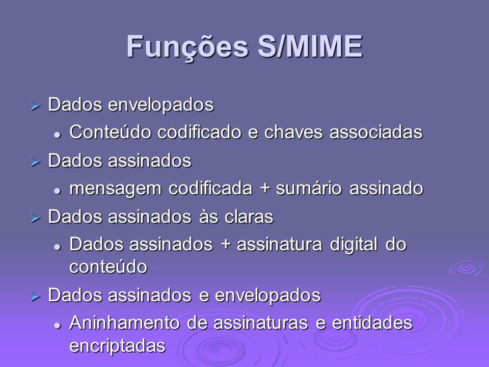 Funções S/MIME Dados envelopados