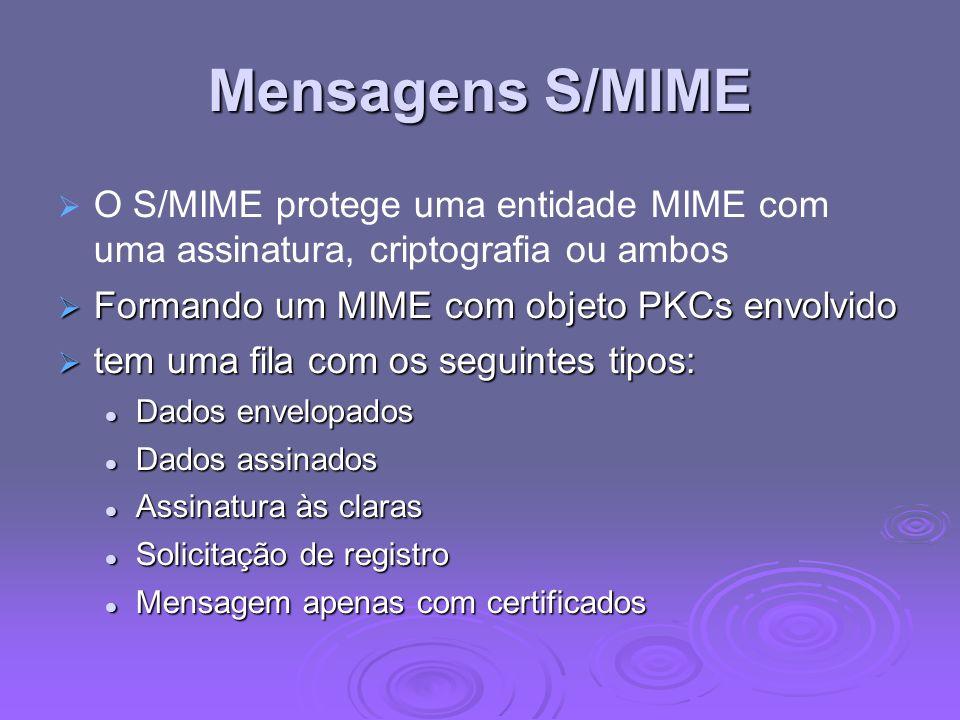 Mensagens S/MIME O S/MIME protege uma entidade MIME com uma assinatura, criptografia ou ambos. Formando um MIME com objeto PKCs envolvido.
