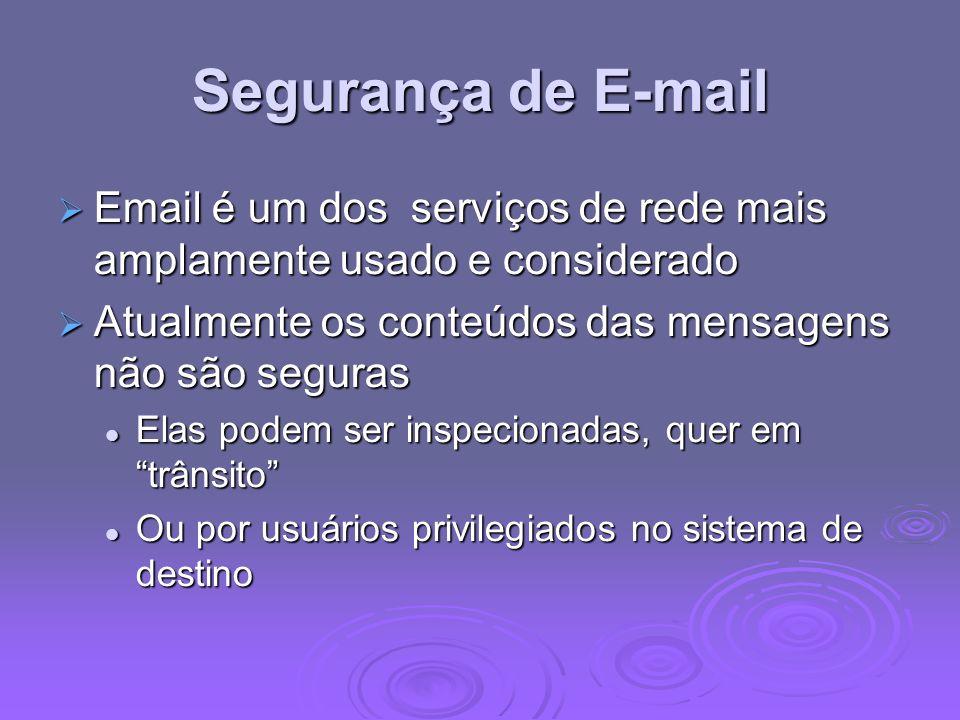 Segurança de E-mail Email é um dos serviços de rede mais amplamente usado e considerado. Atualmente os conteúdos das mensagens não são seguras.