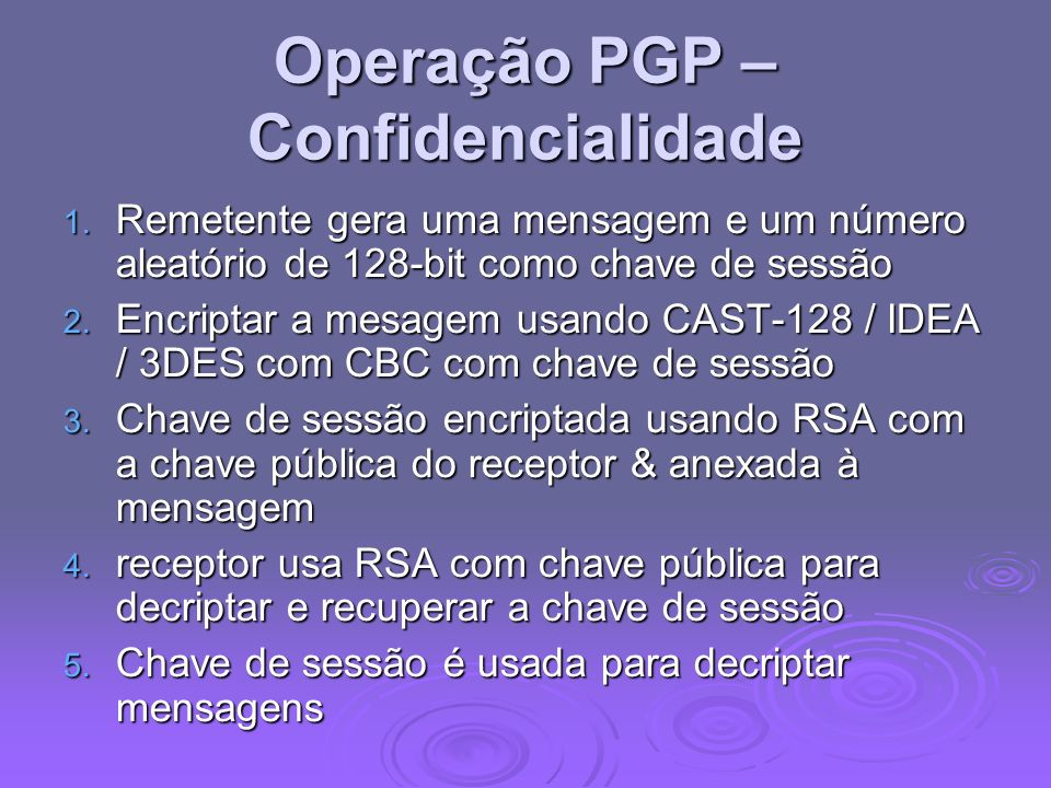 Operação PGP – Confidencialidade