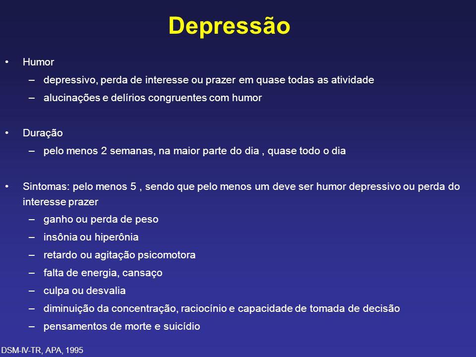 Depressão Humor. depressivo, perda de interesse ou prazer em quase todas as atividade. alucinações e delírios congruentes com humor.