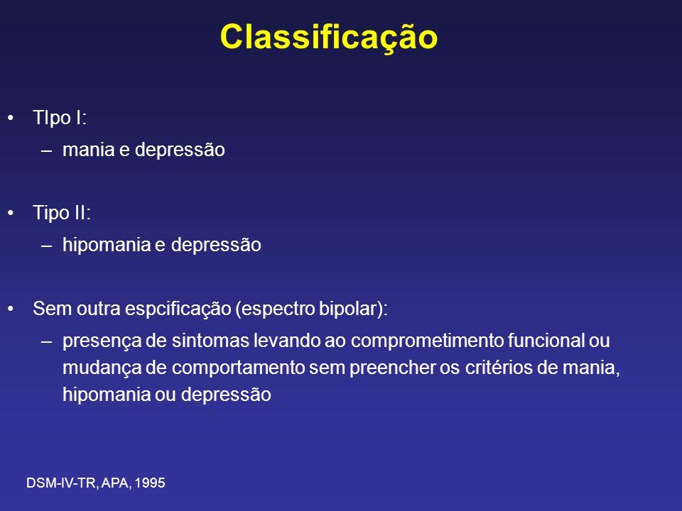 Classificação TIpo I: mania e depressão Tipo II: hipomania e depressão