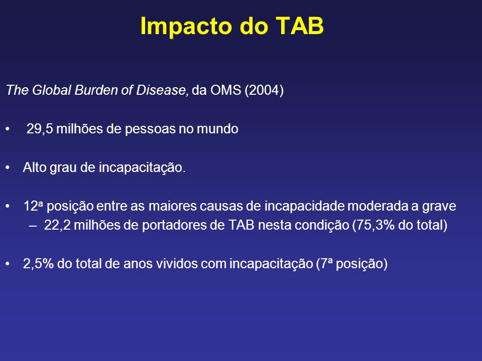 Impacto do TAB The Global Burden of Disease, da OMS (2004)