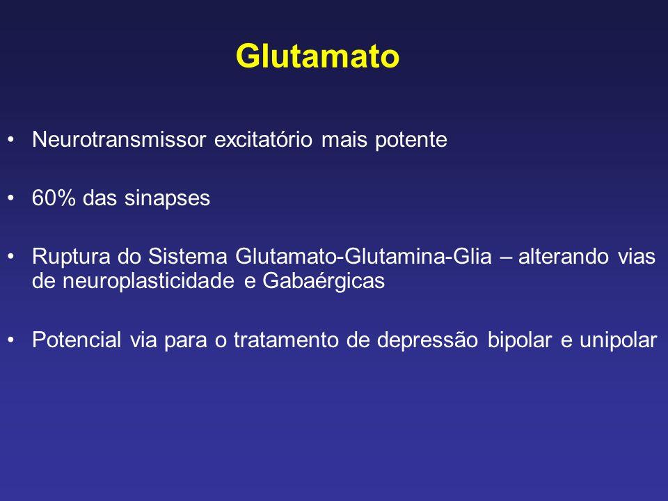 Glutamato Neurotransmissor excitatório mais potente 60% das sinapses
